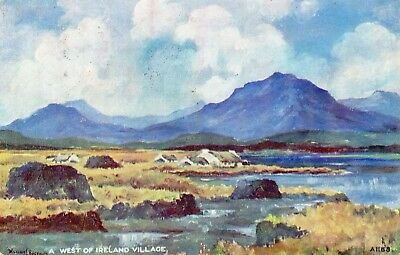 A WEST OF IRELAND VILLAGE IRISH VALENTINES ART POSTCARD by W BURROWS POSTED 1949