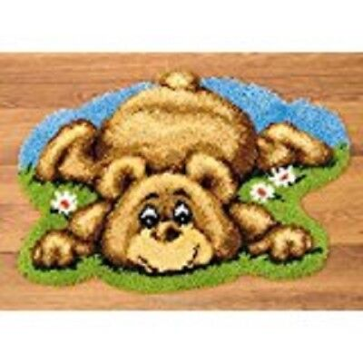 "Latch Hook Rug Kit""Bear Laying in Flowers"" 60 x 60cm Shaped"