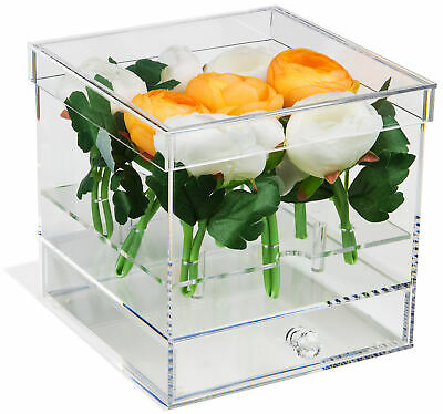 Deluxe Clear Acrylic Flower Display Case with Drawer (A053-AFL)