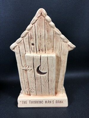 Vintage The Thinking Man's Outhouse Ceramic Bank 1965 14A