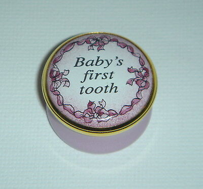 "HALCYON DAYS Enameled ""Baby's First Tooth"" in Box PINK Girl"