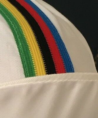 Retro Quality cycling cap, Stitched Detail Rainbow Jersey colours