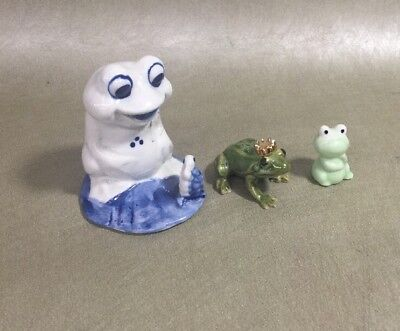 Lot Of 3 Ceramic Various Sizes Multicolored Collectible Frog Figurines