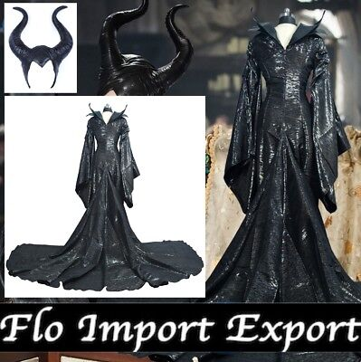 Malefica Vestito Carnevale Donna Maleficent Woman Deluxe Dress up Cosplay MLF003