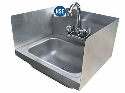 "Stainless Steel Hand Sink With Side Splash - Nsf - Commercial Equipment 16"" X 16"
