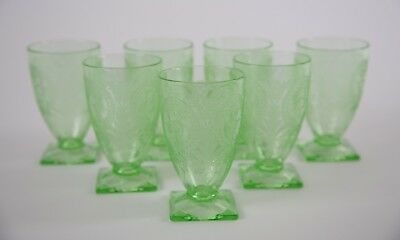 Indiana Horseshoe Green Footed Tumbler Glasses, Set of (7), Depression Glass
