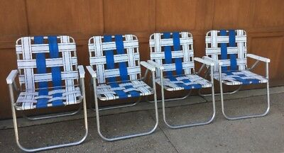 Lot Of 4 Vintage Sunbeam Aluminum Webbed Folding Lawn Chairs White BLUE  Glamping