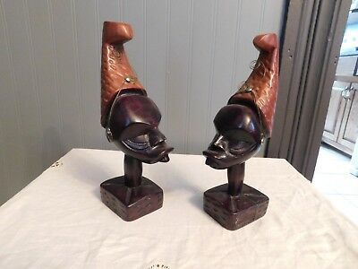 Wooden  Carved African Man & Woman Face on Pedestal Base