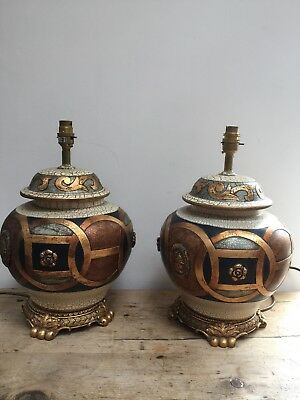 """VINTAGE 20th C PAIR OF LARGE CERAMIC WITH RESIN TRIM TABLE LAMPS 16"""" T X 10"""" W"""
