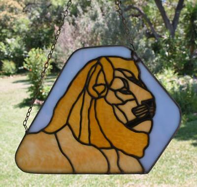 "Unique LION KING Stained Glass MUFASA Window Hanging 10"" x 14"" Disney"