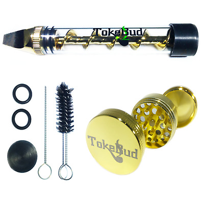 Solid Gold Twist Glass Blunt Pipe Kit with Herb Grinder; PROUD U.S. BRAND! 2018