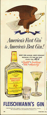 1950's Vintage ad for FLEISCHMANN'S GIN~Art/Eagle/bottle picture (092913)