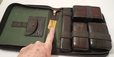 Antique BESTMAID Leather Toiletries Travel & Groom Kit in Zipper Case