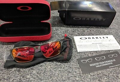 7e4626040e1 Oakley 6017-07 Tincan Carbon Carbon w Ruby Iridium Sunglasses Ferrari New!