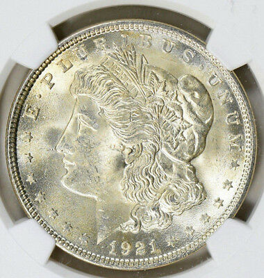 1921 Morgan Silver Dollar Ngc Ms-64 Golden Luster With Sharp Strike