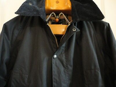BARBOUR Bedale Navy Waxed Cotton Tartan Lined Jacket Coat Made England M Lampo