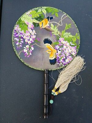 3D Lifelike Double Side  Birds in the tree Handmade Embroidery Silk Hand Fan