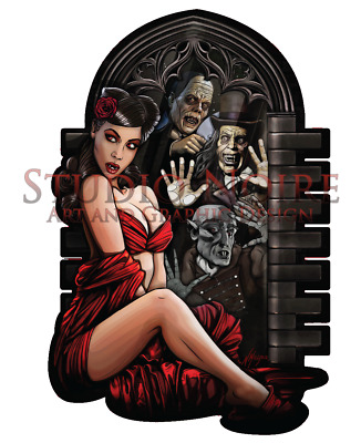 Classic Movie Monster Lowbrow Horror Art Pinup Girl Large Vinyl Sticker Decal