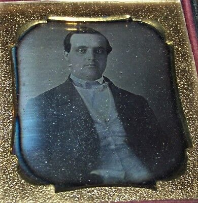 c1850 Antique 1/6 Plate Daguerreotype of a Well-Dressed Victorian Man Bow Tie
