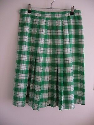 Vintage Pleated Skirt, Green & White Check, Target, Size 16