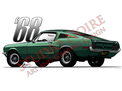1968 Mustang GT 390 V8 Bullitt Fastback Vinyl Sticker First Generation