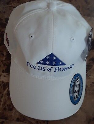 NEW FOLDS OF HONOR Golf Hat Baseball Cap Ahead White American Flag  Adjustable de0beb25715