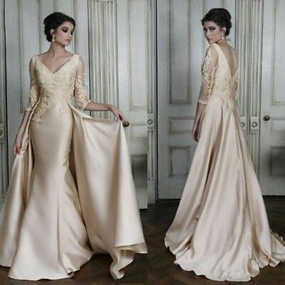 Lace Satin Applique with Train Wedding Dress Long Sleeve Mermaid Bridal Gown