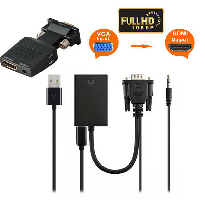 VGA Male to HDMI Female Converter+Audio Adapter Support 1080P Signal Output New
