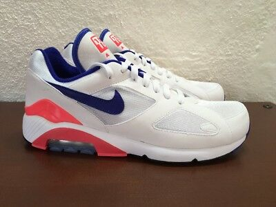 d64c4e9aaeac0f Nike Air Max 180 White Ultramarine Solar Red 615287 100 Mens size 9.5 NEW OG