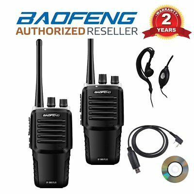 2 x Baofeng BF-888S Plus UHF Two Way Walkie Talkie Radio + Cable & Earpiece UK
