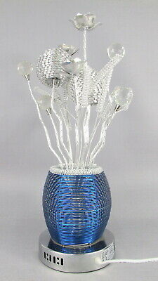 55cm Aluminium Woven Wire Floral Table / Floor Lamp Metallic Flower Crystals