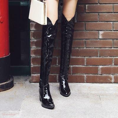 1d0003c5ec0 Women Riding Low Heel Cowboy Snakeskin Knee High Boots Pull On Shoes  Leather Ch8
