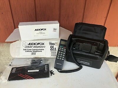 Vintage Car Phone TRAN 55A with Case and Battery (Untested)