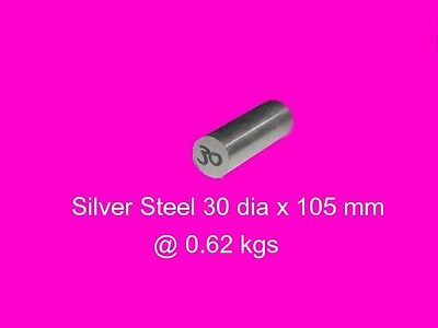 Silver Steel 30 dia x 105 mm ( W1 )-Tools-Lengths-Lathe-Mill-Steam