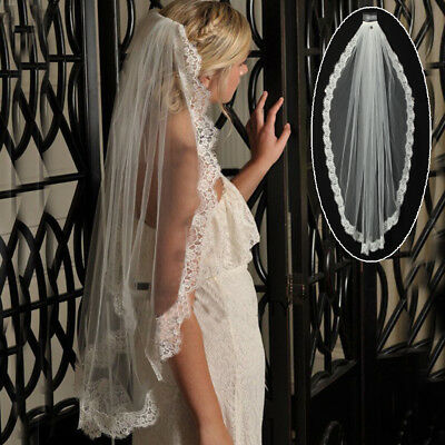 1.5M White Ivory 1T Cathedral Applique Edge Lace Bridal Wedding Veil With Comb