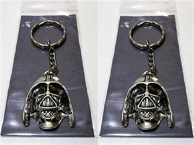 Darth Vader Keychains-2 Lot Star Wars Metal Keyring-Movie Gift Set-Free S/H
