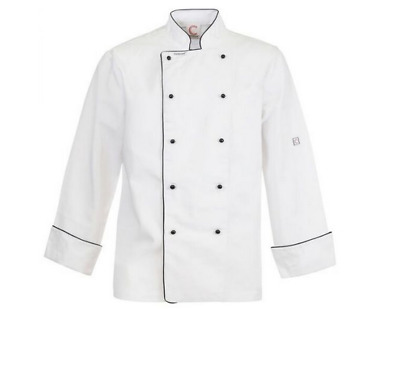 Executive Chefs Jacket With Piping- Long Sleeve - Size Small