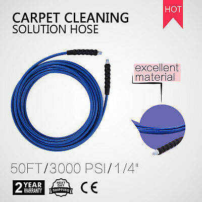 50 FT. Carpet Cleaning 3000 PSI 275 Degree Blue Steel Braided Solution Hose