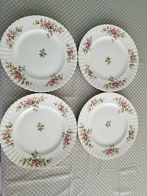 Royal Albert beautiful Moss Rose dinner plates x4 1st quality & ROYAL ALBERT beautiful Moss Rose dinner plates x4 1st quality ...