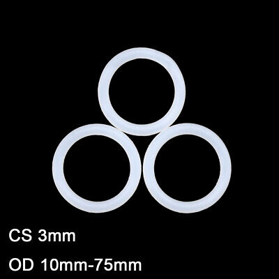 White Silicon Rubber O-Ring Seals Washer Food Grade OD 10-48mm Cross Section 3mm