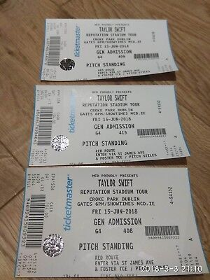 Taylor Swift concert in Dublin at 15th-Jun hard copy standing tickets