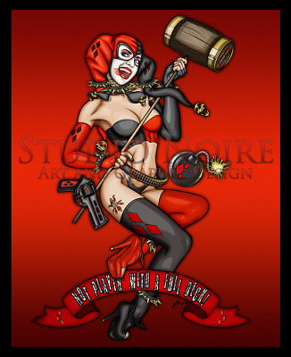 Harley Quinn Style Rockabilly WW2 Nose Pinup Girl Print Sexy Lowbrow Pop Art
