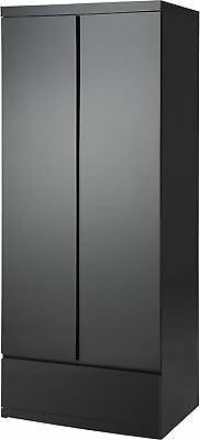 NEW Tesco Maine 2 Door 1 Drawer Double Wardrobe (Gloss Black)