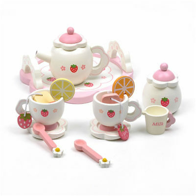 Girls Kids Pink Wooden Tea Set Role Play Toy Xmas Gift Birthday Party With Box