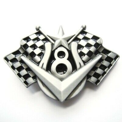 V8 Chequered Flags speedway brushed silver removable BELT BUCKLE - BP120