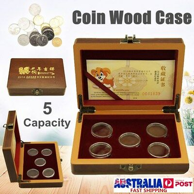 5 Coin Wood Case Display Box Wooden Storage Holder Collection Adjustable Capsule
