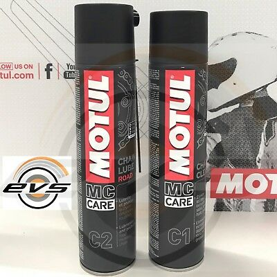 Motul C2 Grasso Spray Catena Moto Strada Kart + C1 Chain Clean Sgrassante 1 Kit