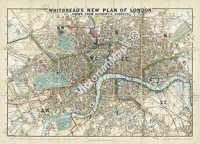 old Victorian map guide Whitbread's New Plan Of London 1858 large art poster