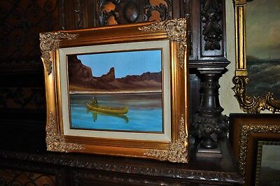 Lovely Vintage Warrior in Canoe   Oil Painting