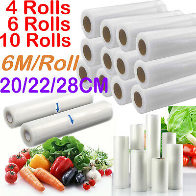 6/10 X Vacuum Food Sealer Seal Bags 6M Rolls Saver Storage Commercial 20 22 28cm